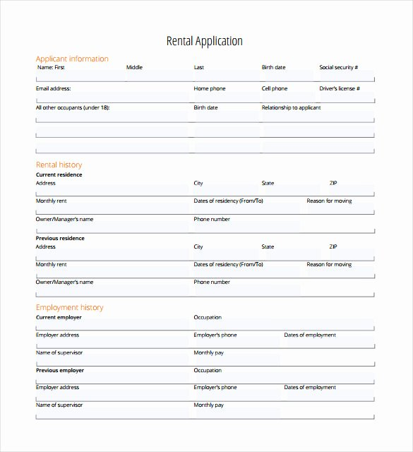 Renters Application form Template New Rental Application – 18 Free Word Pdf Documents Download