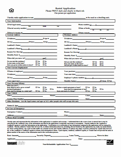 Renters Application form Template New Rental Application Free Download Create Edit Fill and