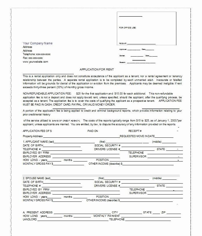 Renters Application form Template Unique 42 Free Rental Application forms & Lease Agreement