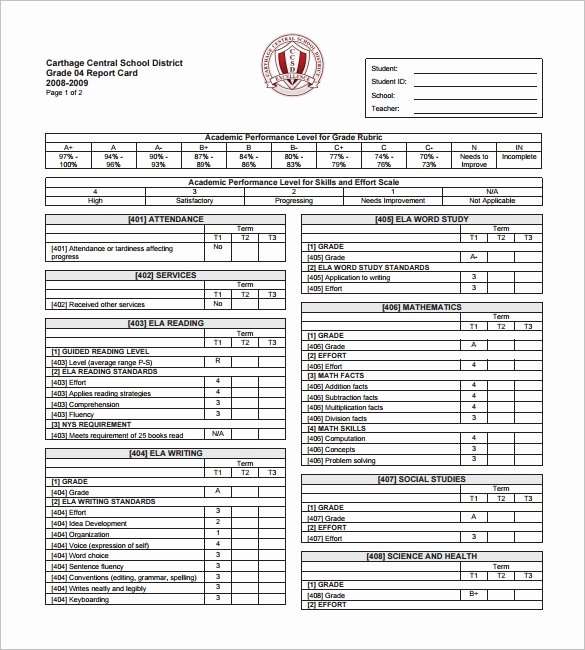 Report Card Template Excel Beautiful 14 Progress Report Card Templates Word Pdf Docs Pages