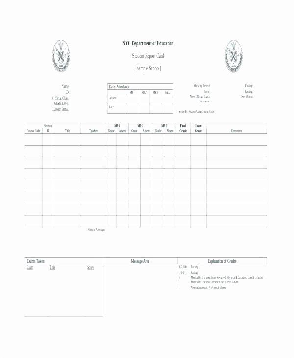 Report Card Template Excel Elegant 5th Grade Report Card Template