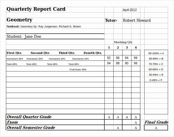 Report Card Template Excel Elegant 6 Sample Homeschool Report Cards
