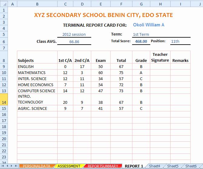 Report Card Template Excel Elegant Report Card Template Excel Templates Data