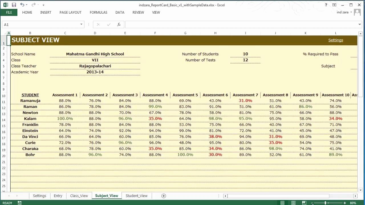 Report Card Template Excel Fresh Report Card Basic Excel Template