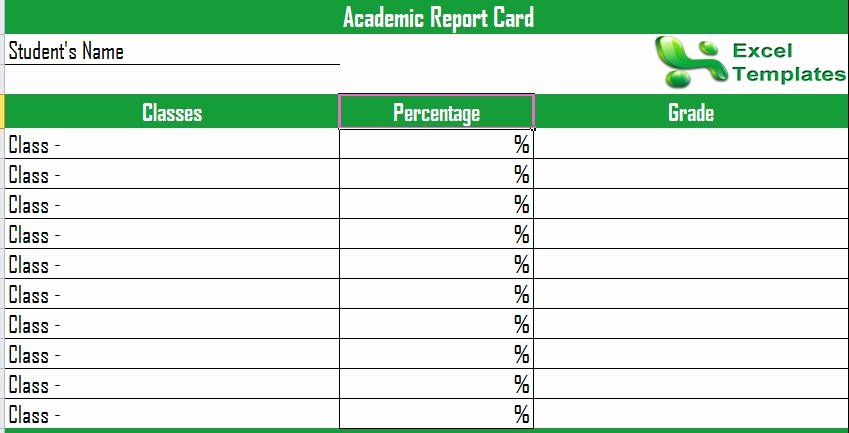 Report Card Template Excel Inspirational Report Card Template