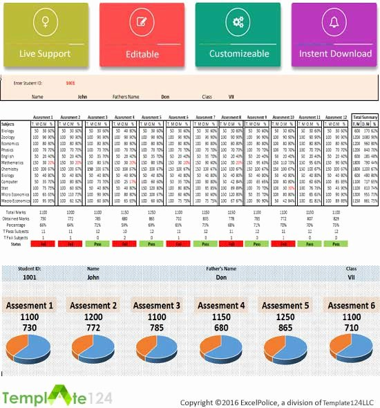 Report Card Template Excel New Printable Student Report Card Template Excel