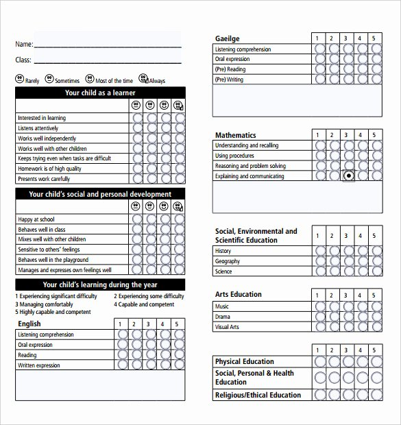 Report Card Template Pdf Best Of Report Card Template 28 Free Word Excel Pdf Documents