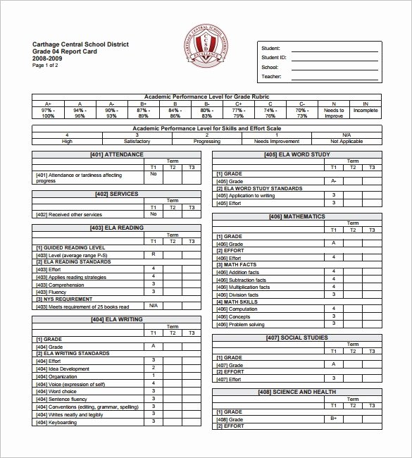 Report Card Template Pdf Lovely Student Progress Report Template