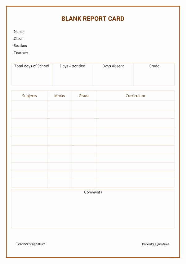 Report Card Template Pdf Luxury 17 Report Card Template 6 Free Word Excel Pdf