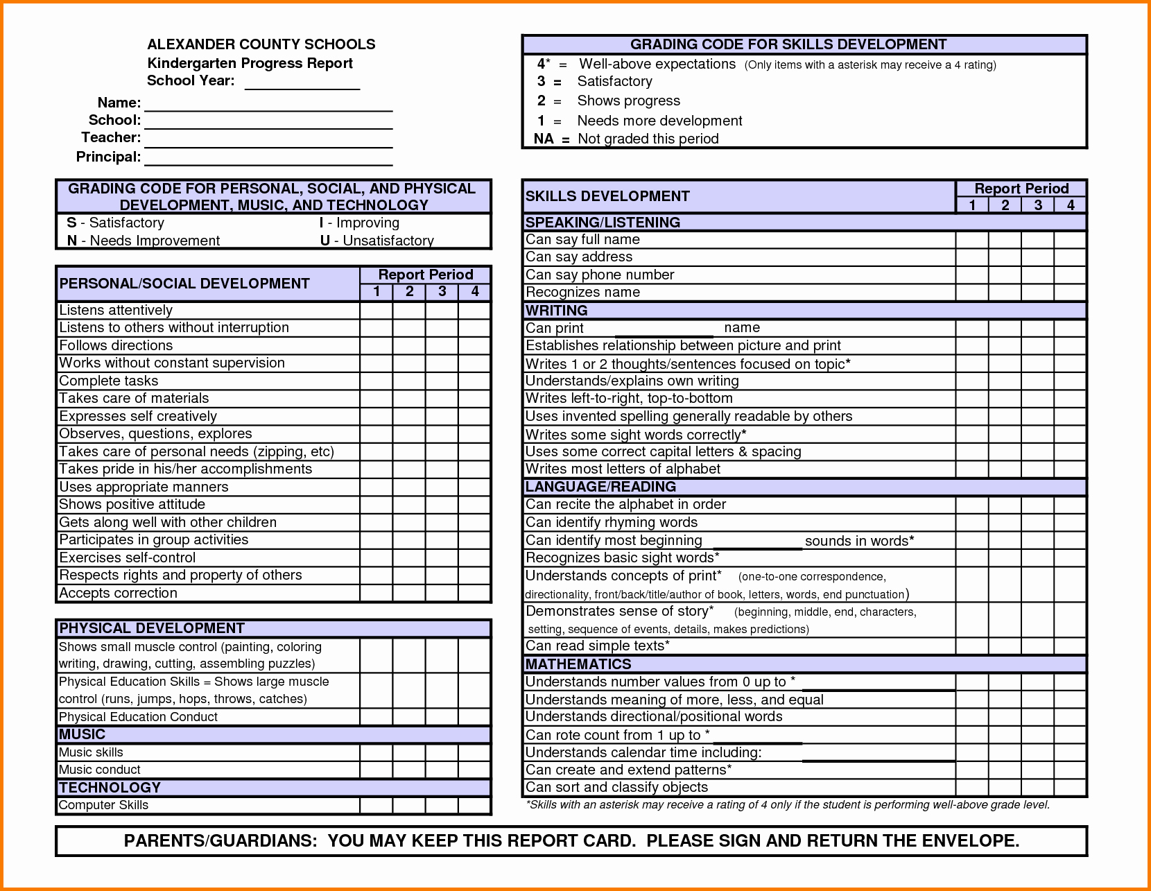 Report Card Template Pdf Luxury Kindergarten Report Card Template Word Power