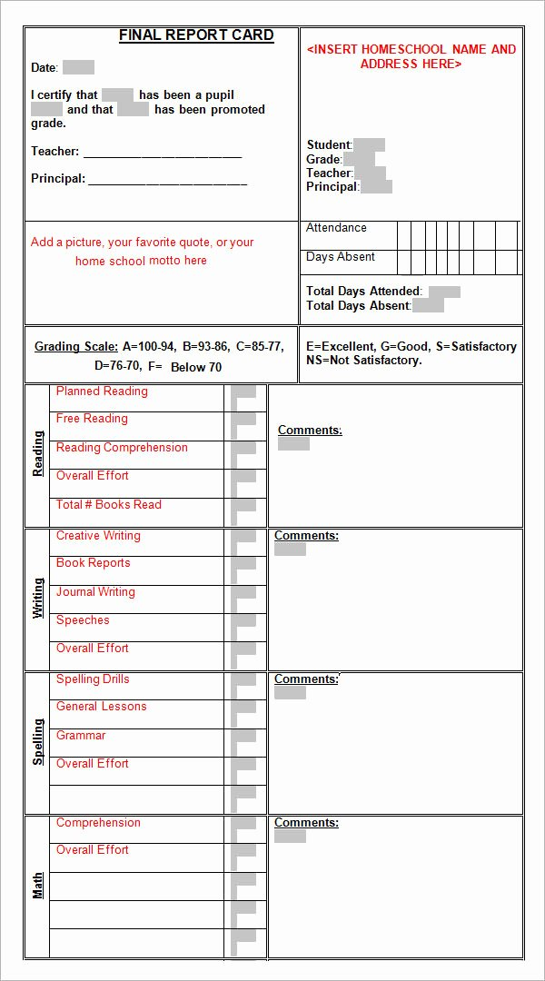 Report Card Template Pdf Unique Sample Report Card Template 11 Download Documents In