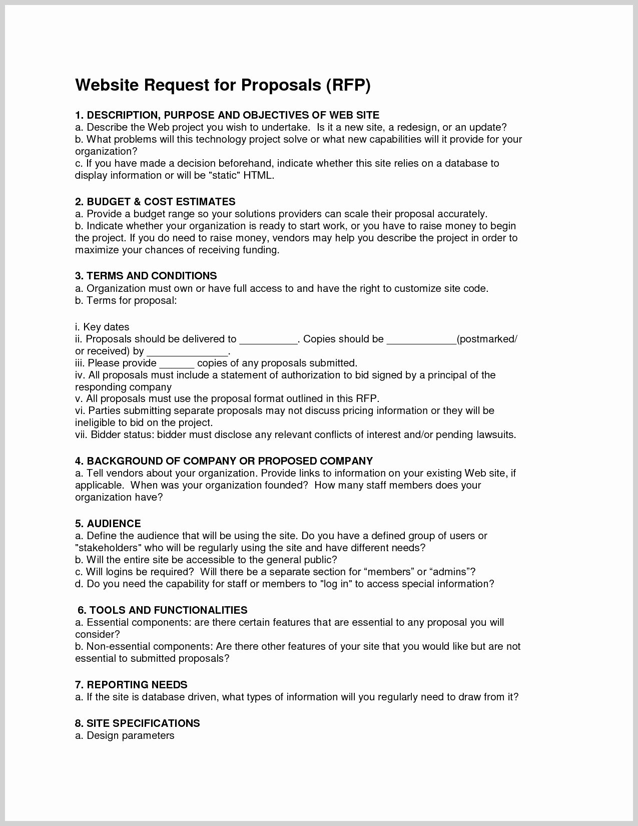 Request for Proposal Template Word Awesome Appealing Sample Rfp Template Resume Ideas