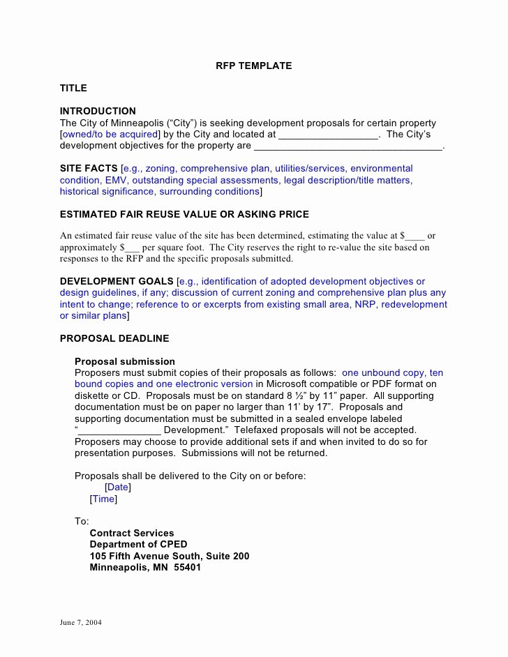 Request for Proposal Template Word Best Of Rfp Template Developmentcc