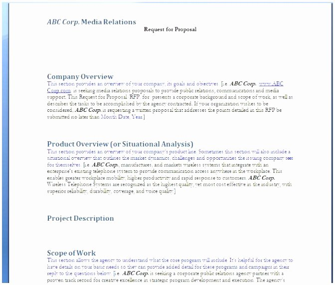 Request for Proposal Template Word Elegant 9 Request for Proposal Template Word Document Oeoui