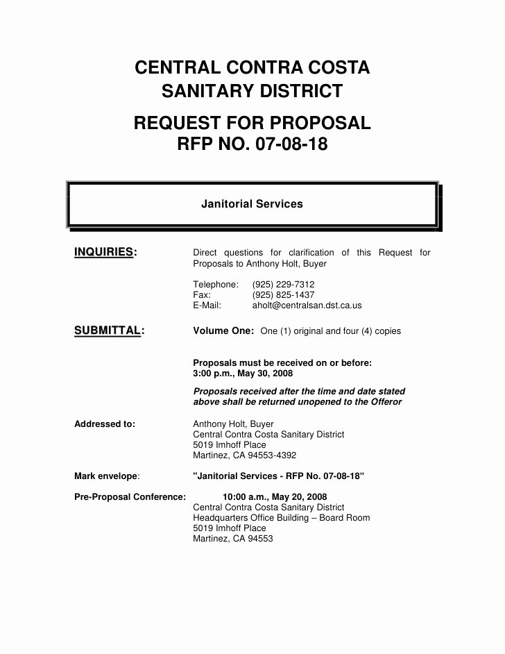 Request for Proposal Template Word Elegant Microsoft Word Janitorial Rfp 07 08 18 Final