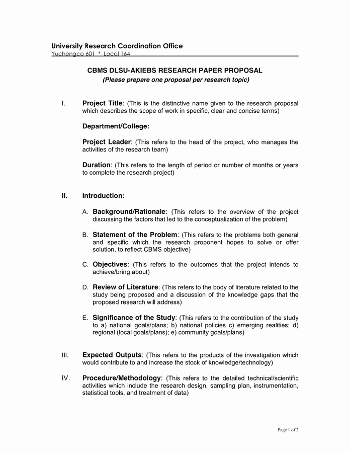 Research Paper Proposal Template Best Of Research Proposal In Word and Pdf formats