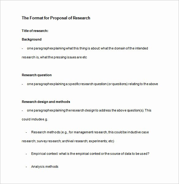 Research Paper Proposal Template Unique Research Proposal Templates 17 Free Samples Examples