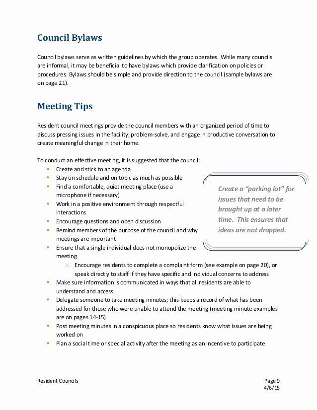 Resident Council Meeting Minutes Template Beautiful Resident Council Guidenal