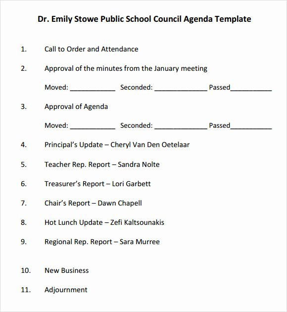 Resident Council Meeting Minutes Template Elegant School Agenda – 7 Free Samples Examples format