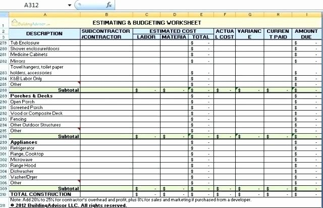 Residential Construction Budget Template Excel Elegant Home Construction Cost Temp within Residential