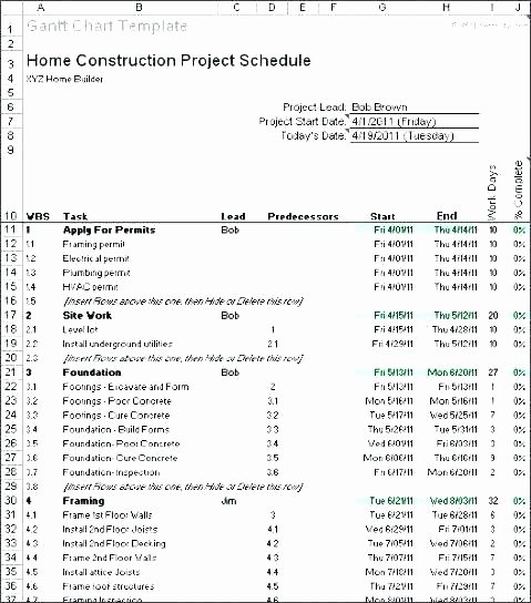 Residential Construction Schedule Template Excel Unique New Home Construction Schedule Dwelling Building Schedule