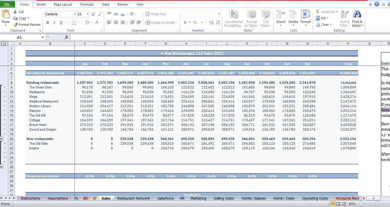 Restaurant Budget Template Excel Best Of Restaurant Bud Template Cfotemplates