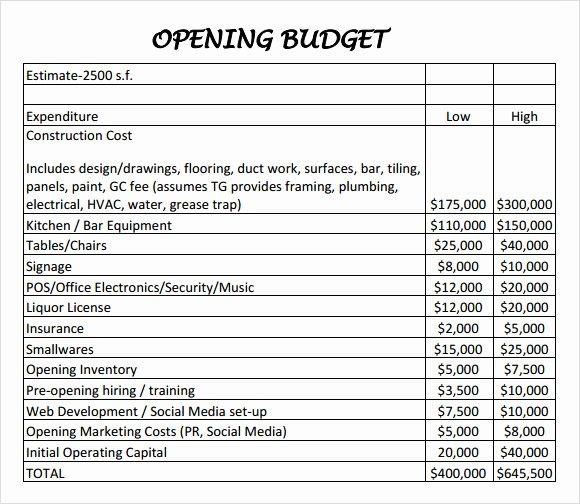 Restaurant Budget Template Excel Fresh 6 Restaurant Bud Samples