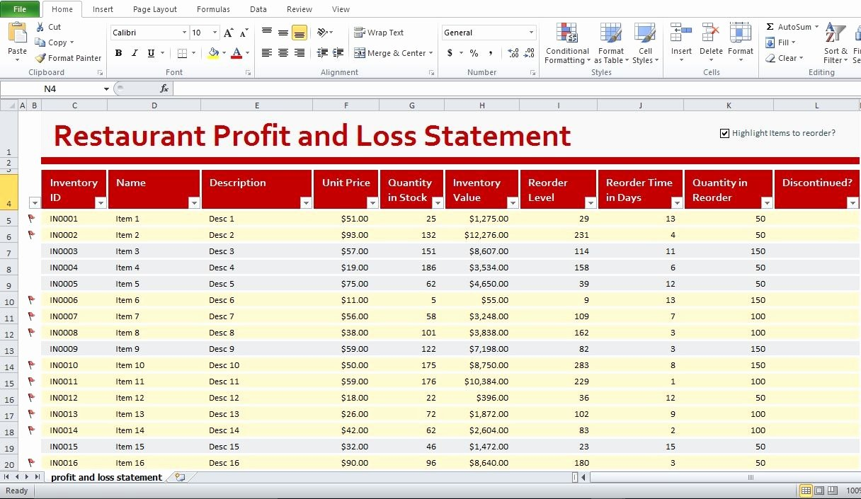 Restaurant Budget Template Excel Inspirational Restaurant Profit and Loss Statement Template Excel