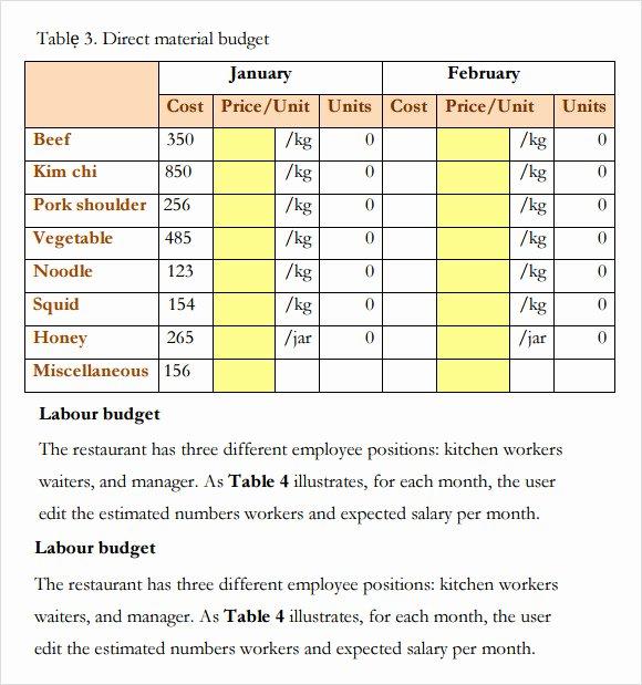 Restaurant Budget Template Excel Lovely 6 Restaurant Bud Samples