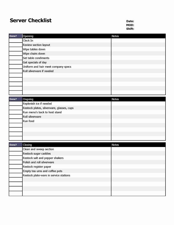 Restaurant Cleaning Checklist Template Best Of Restaurant Server Checklist form organizing