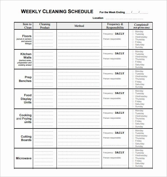 Restaurant Cleaning Checklist Template Fresh Restaurant Schedule Template – 9 Free Sample Example