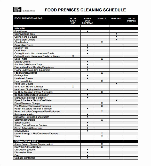 Restaurant Cleaning Schedule Template Awesome Restaurant Schedule Template – 9 Free Sample Example