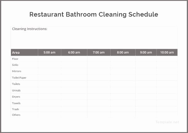 Restaurant Cleaning Schedule Template Elegant 21 Bathroom Cleaning Schedule Templates Pdf Doc