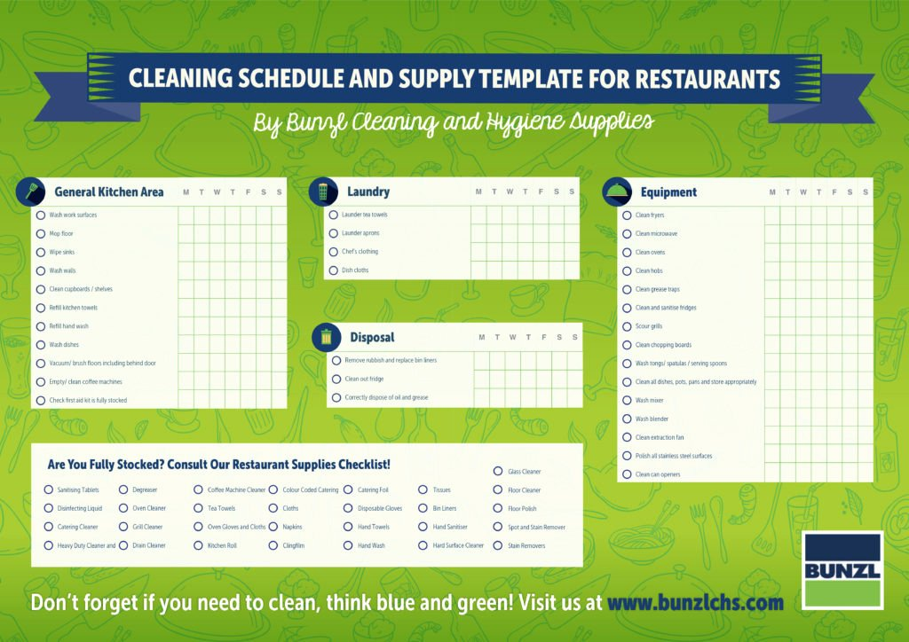 Restaurant Cleaning Schedule Template Fresh Download Cleaning Schedule and Supply Template for