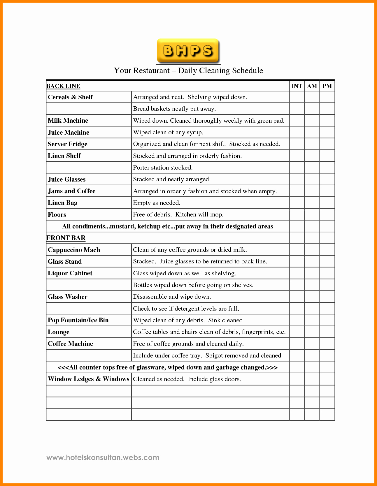 Restaurant Cleaning Schedule Template New 9 Restaurant Cleaning Checklist