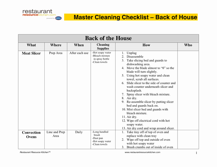 Restaurant Cleaning Schedule Template Unique Master Cleaning Schedule In Word and Pdf formats