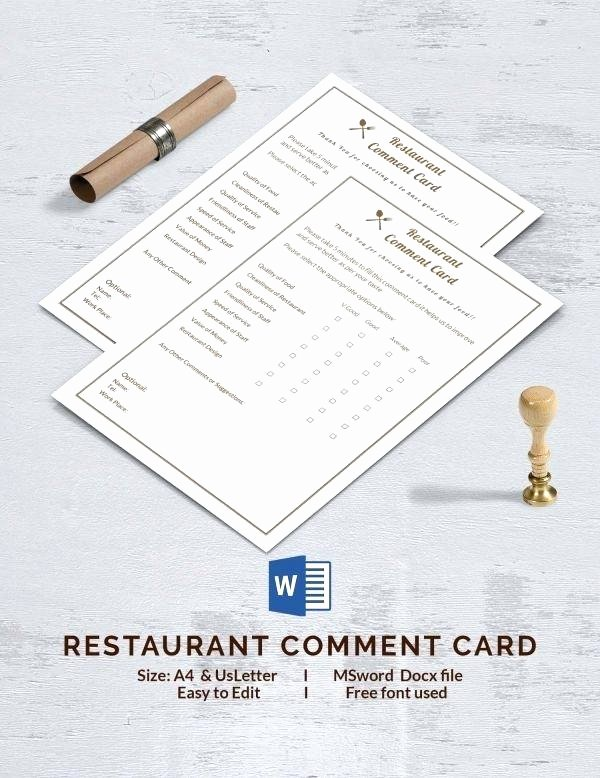 Restaurant Comment Card Template Awesome Restaurant Ment Card Cards Restaurants Templates and