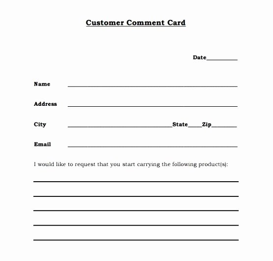 Restaurant Comment Card Template Beautiful Restaurant Ment Cards Free Restaurant Ment Card