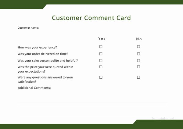 Restaurant Comment Card Template Best Of How to Make A Restaurant Ment Card 5 Templates