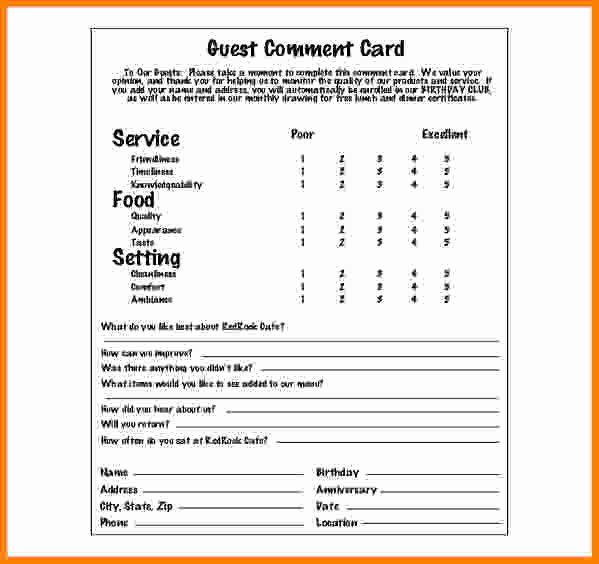 Restaurant Comment Card Template Free Beautiful Restaurant Ment Card Templates Ment Card Template