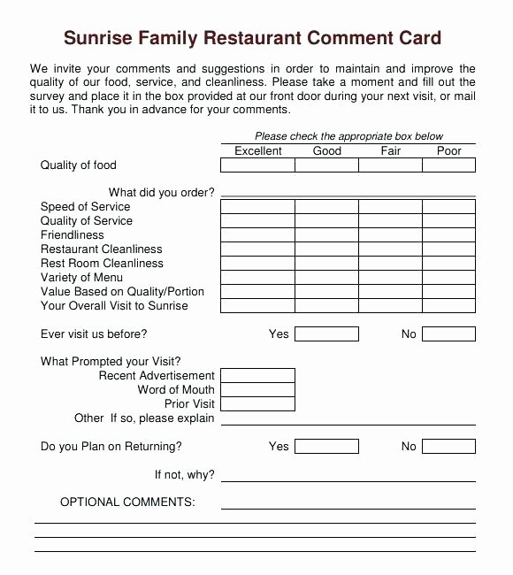 Restaurant Comment Card Template Free Beautiful Template Free Restaurant Ment Card Template Guest