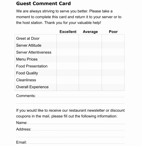 Restaurant Comment Card Template Free Best Of 5 Restaurant Ment Card Templates formats Examples In