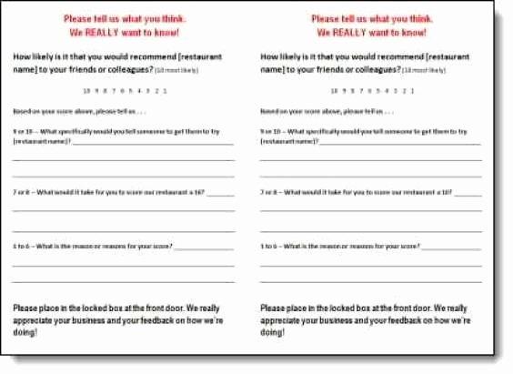 Restaurant Comment Card Template Free Elegant 5 Restaurant Ment Card Templates Free Sample Templates