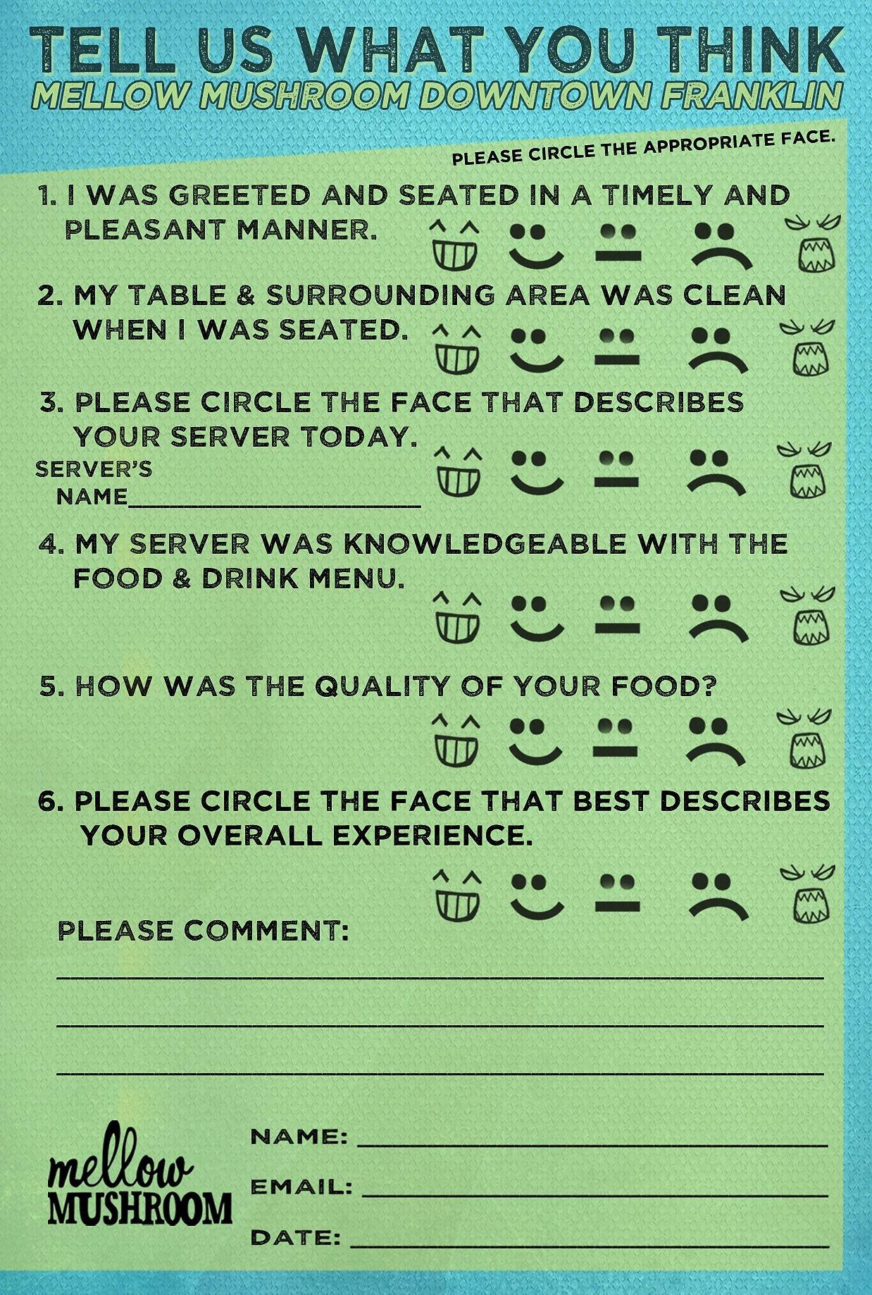 Restaurant Comment Card Template Free Elegant Mellow Mushroom Ment Card My Design Work