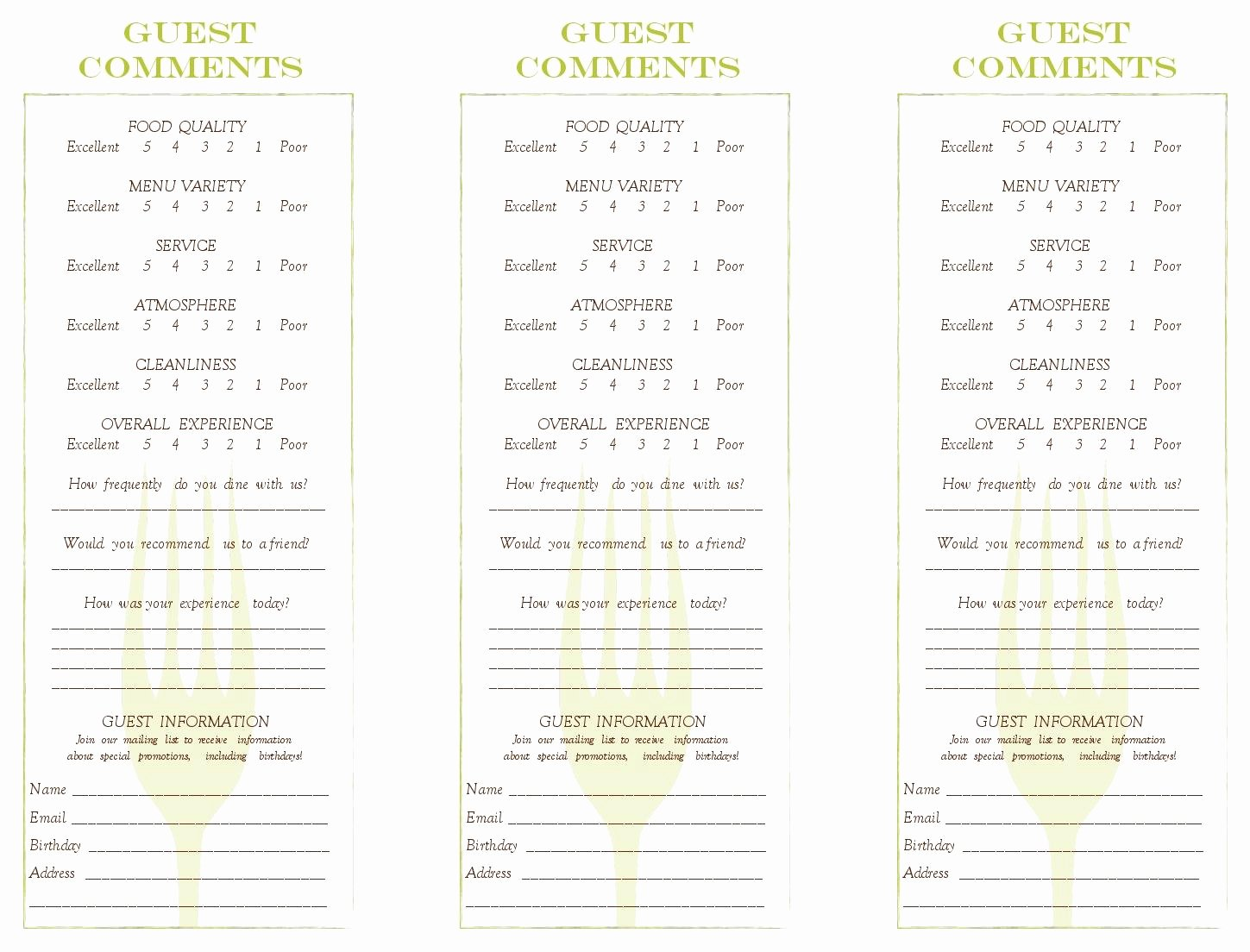 Restaurant Comment Card Template Free Fresh Cancel Save