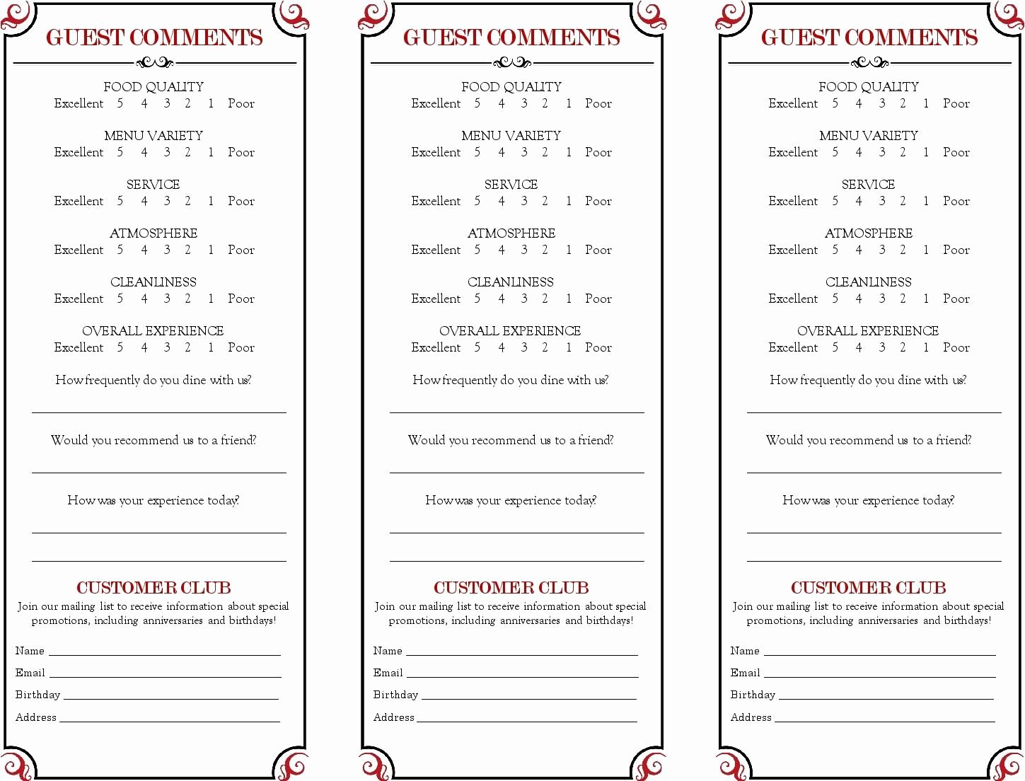 Restaurant Comment Card Template Free Inspirational Restaurant Ment Card Google Search