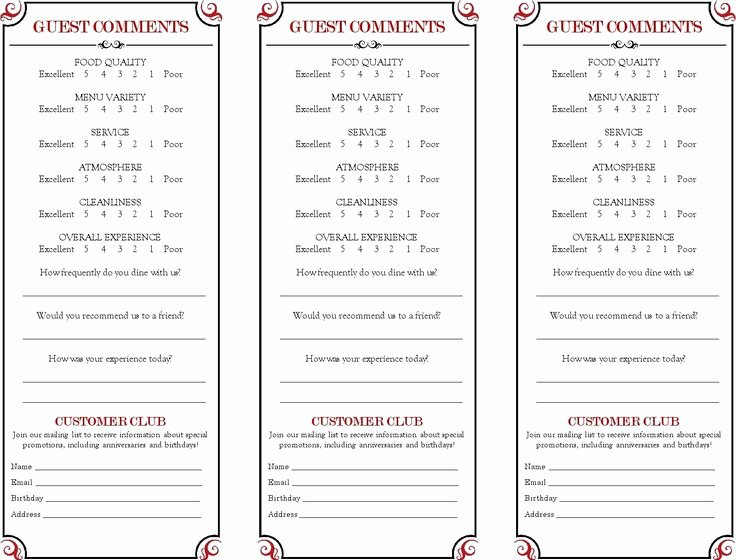 Restaurant Comment Card Template Free Lovely 9 Best Ment Cards Images On Pinterest