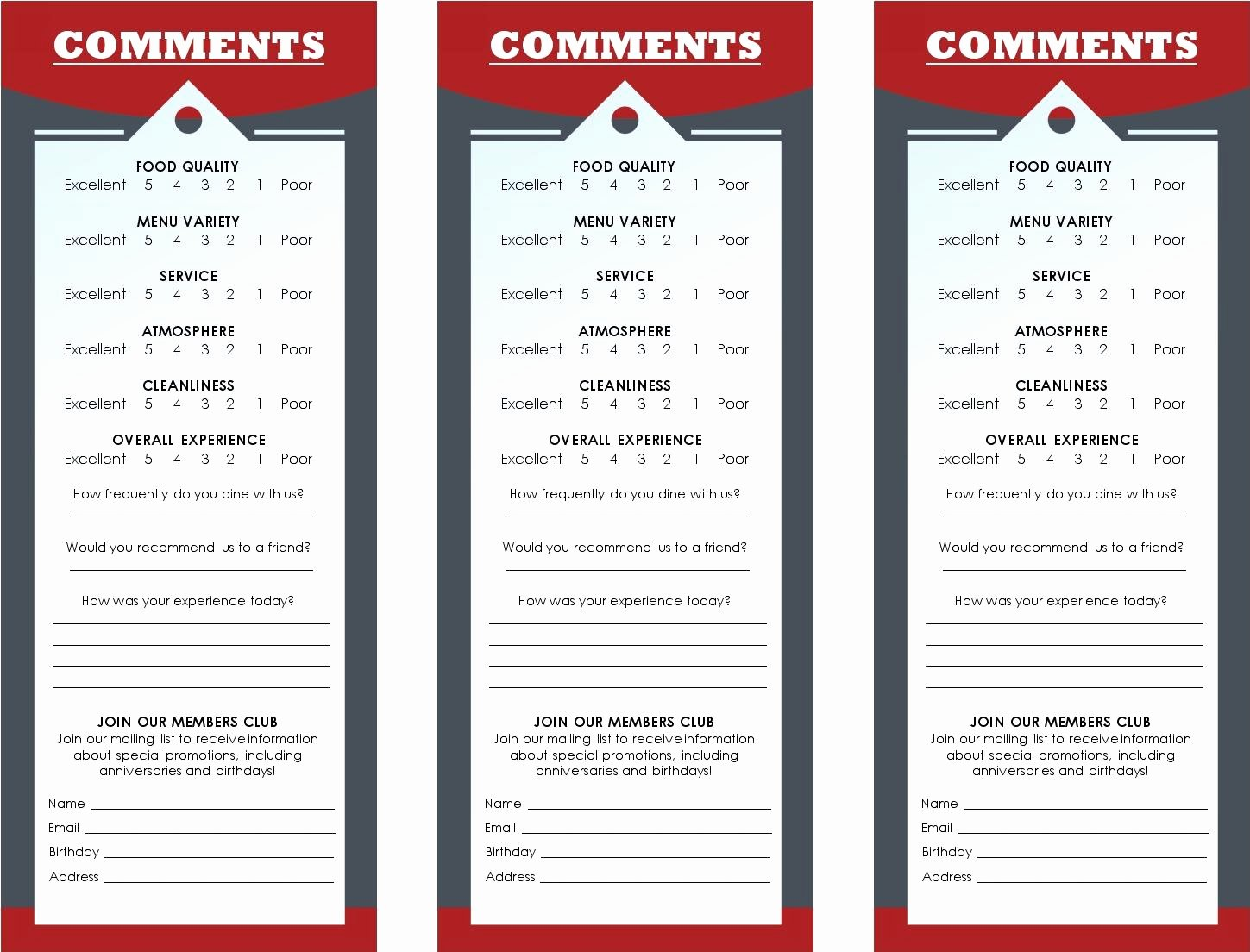 Restaurant Comment Card Template Free Lovely Cancel Save