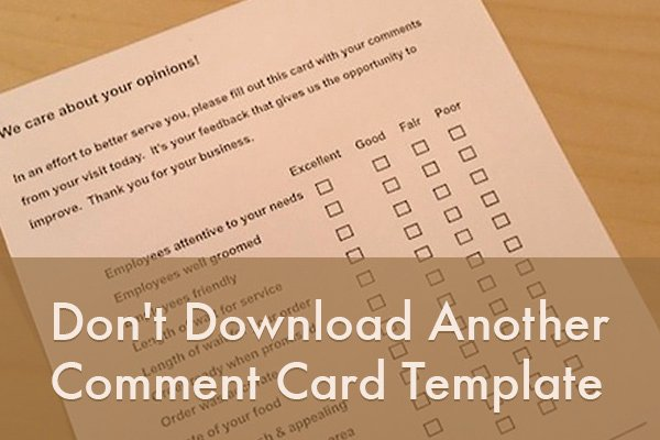 Restaurant Comment Card Template Free Lovely Don T Download Another Ment Card Template
