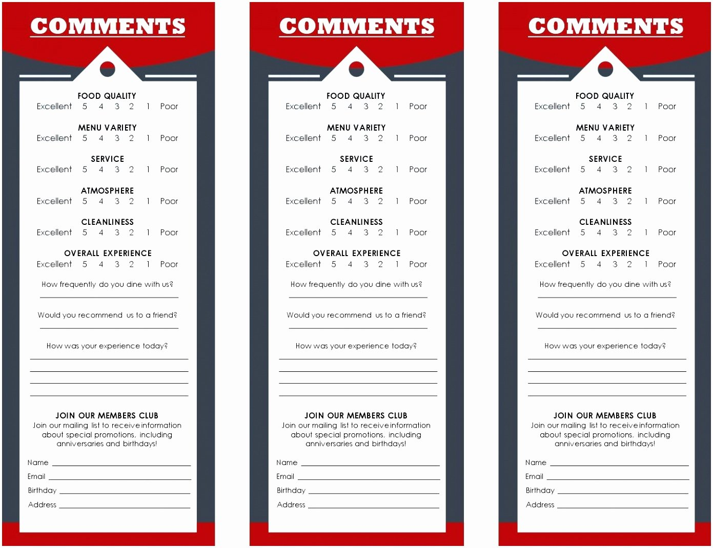 Restaurant Comment Card Template Free Luxury 9 Restaurant Ment Card Template Vrtwi